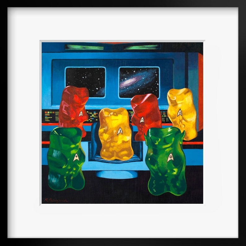 Gummy Bear Star Trek Art print from oil painting  Parody Star image 0