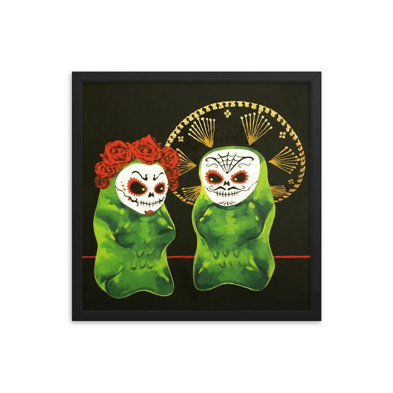 Gummy Bear Day Of The Dead Framed Art Print from oil painting image 0