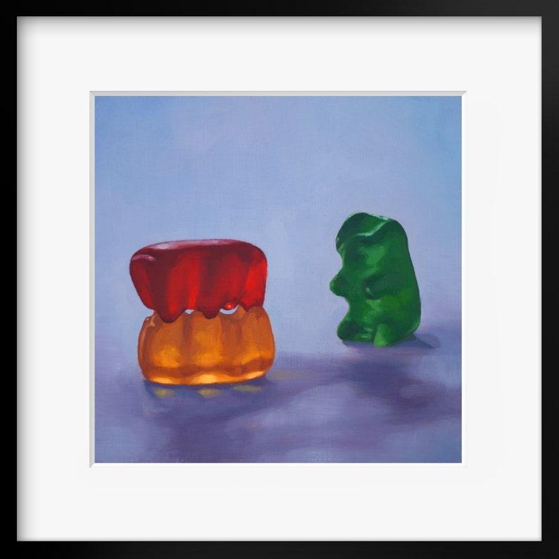 Gummy Bear Voyeur Art Print from oil painting  threesome image 0
