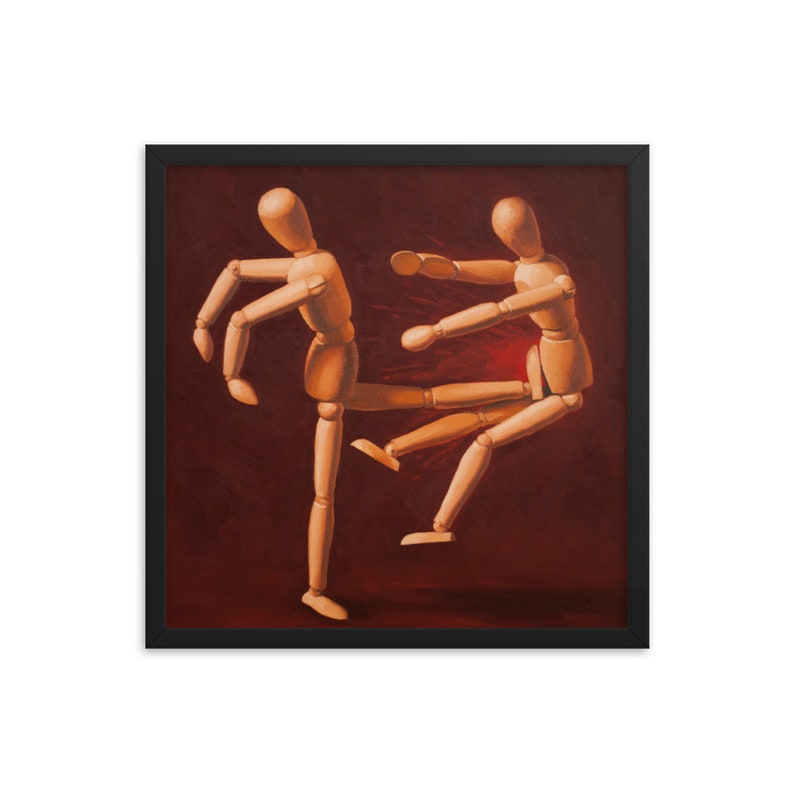Mannequin Fight Club Framed Art Print from oil painting  image 0