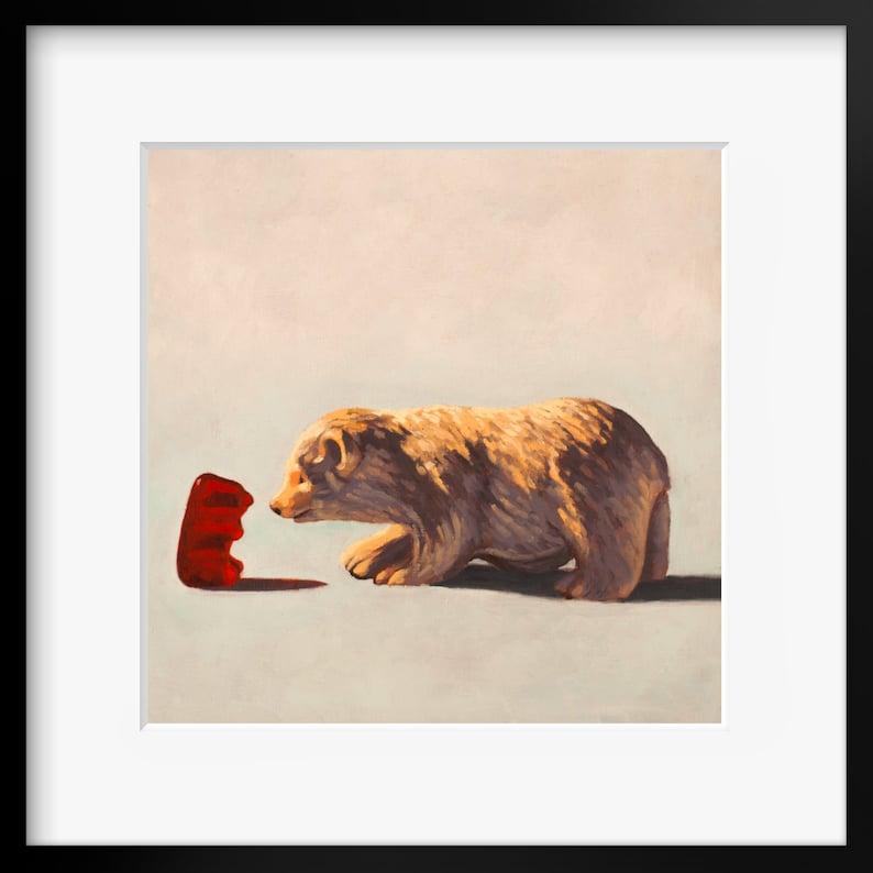 Gummy Bear Art print from oil painting  Cute bear art for image 0