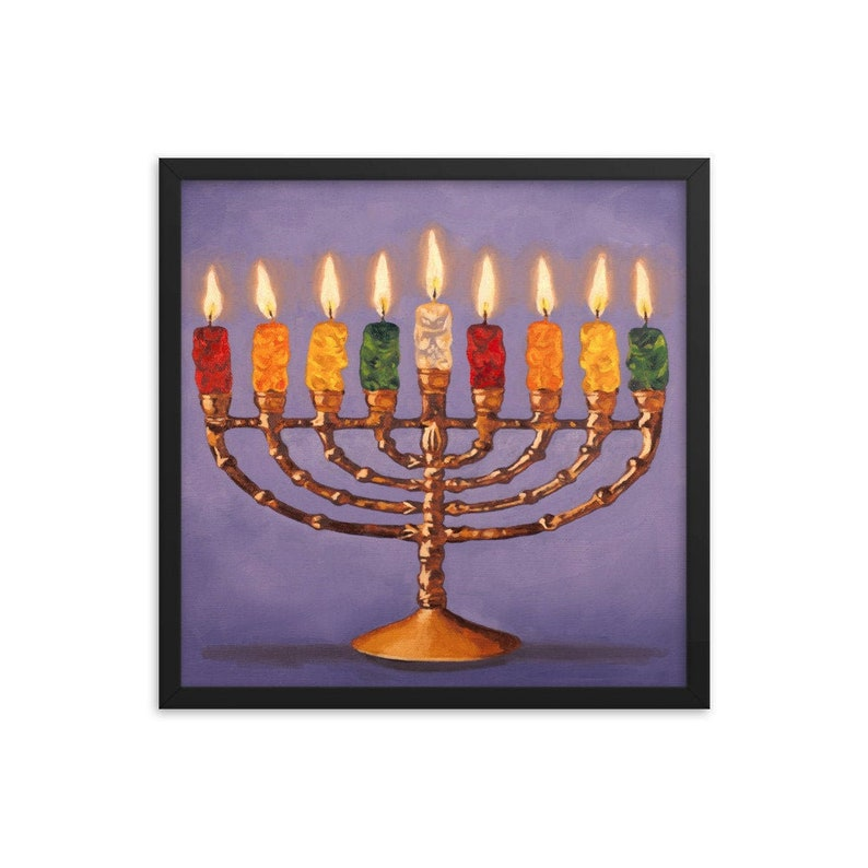 Gummy Bear Hanukkah Framed Art Print from oil painting  image 0