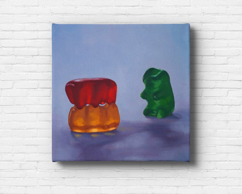 Gummy Bear Voyeur Stretched Canvas Art Print from oil painting image 0