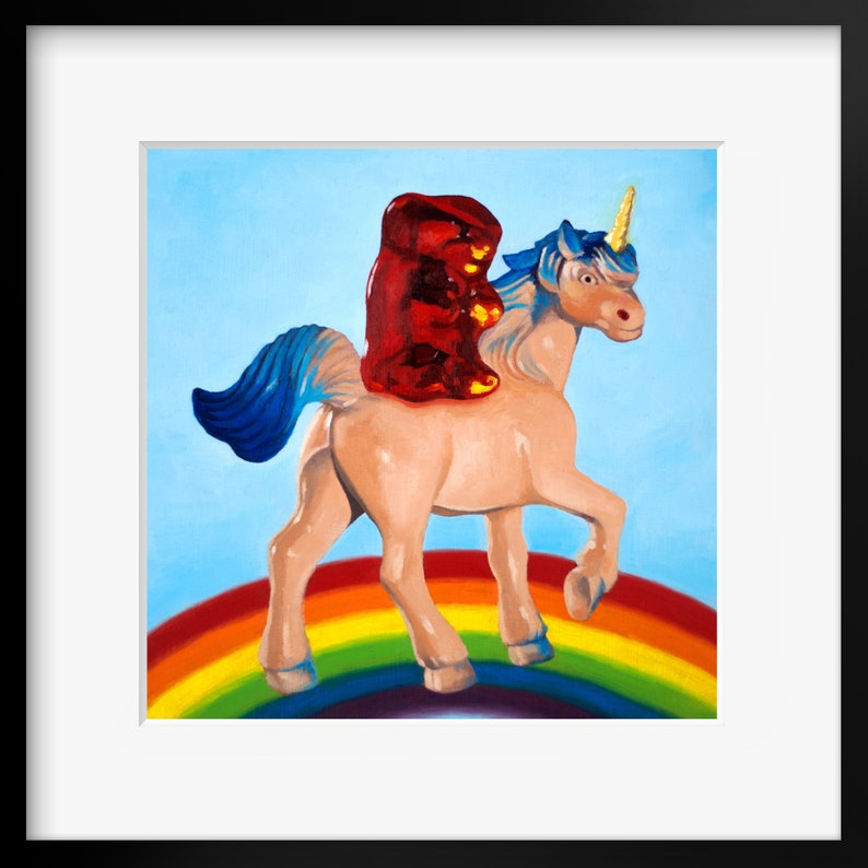 Gummy Bear Unicorn Art Print from original oil painting  Gift image 0