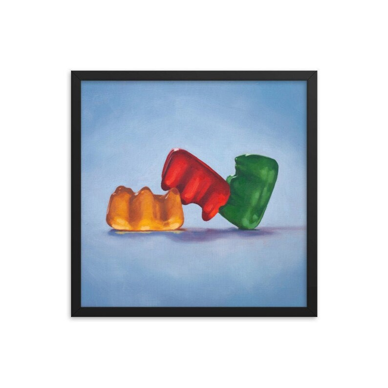 Gummy Bear Threesome Framed Art Print from oil painting  image 0