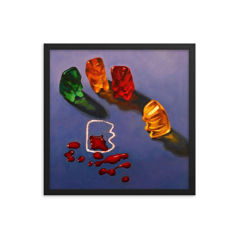 Gummy Bear CSI Crime Scene Framed Art Print from oil painting image 0