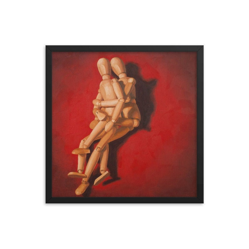 Mannequin Spooning Framed Art Print from oil painting  Ready image 0