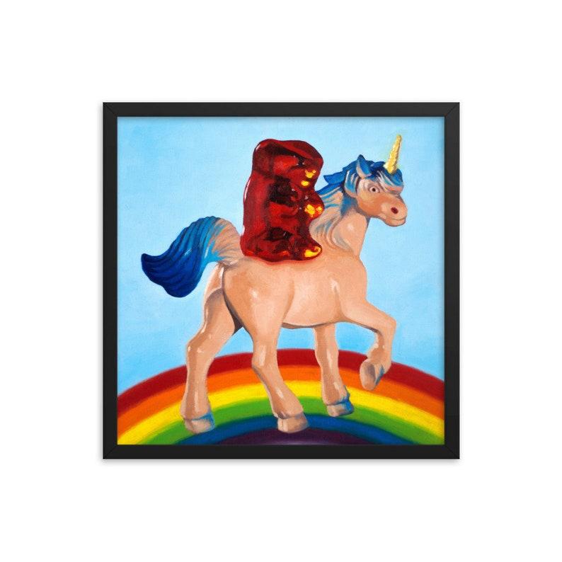 Gummy Bear Unicorn Framed Art Print from oil painting  Gift image 0