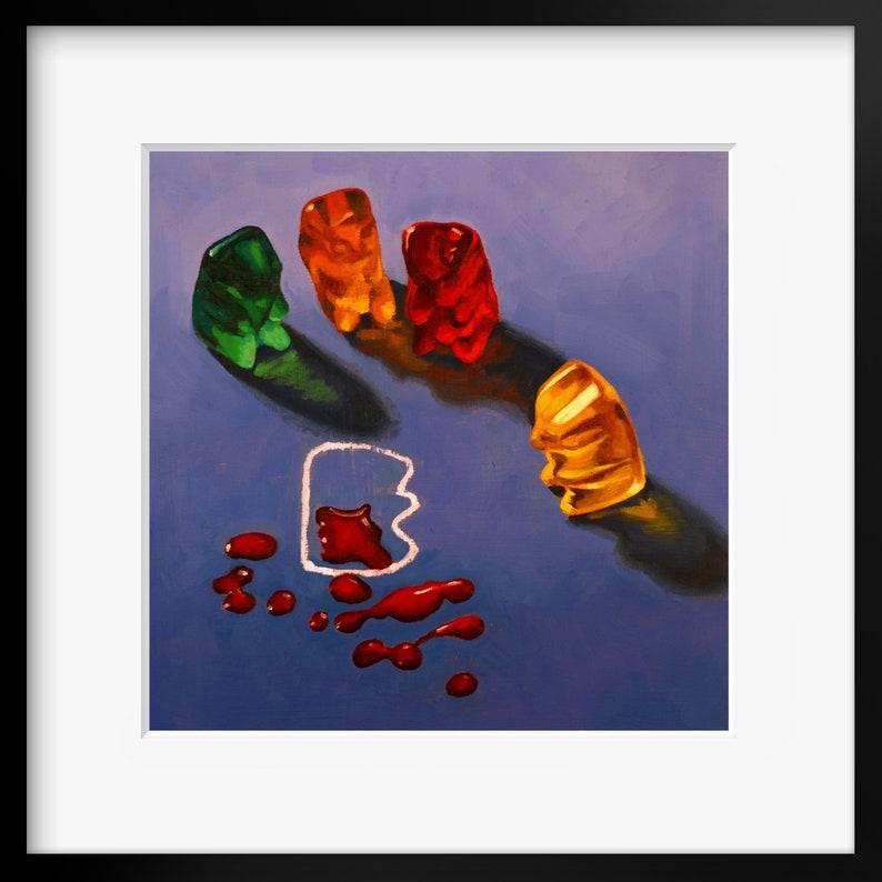 Gummy Bear CSI Crime Scene Art Print from oil painting  cute image 0