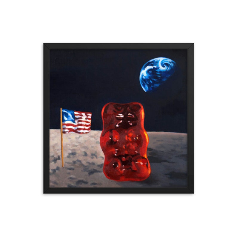 Gummy Bear Astronaut Framed Art Print from oil painting  image 0