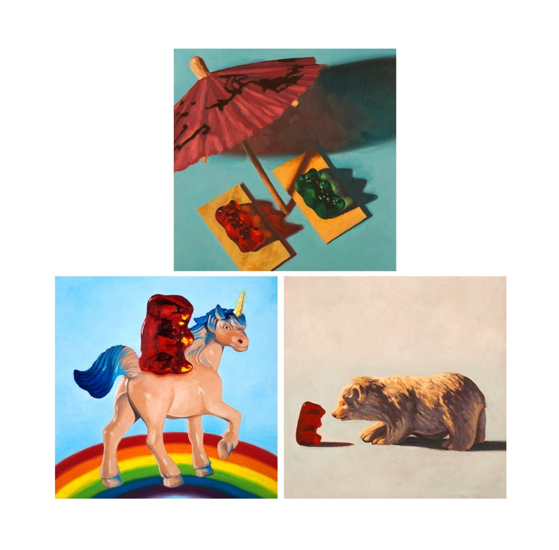 Gummy Bear Art Set of 3 Prints from oil paintings  3 piece image 0