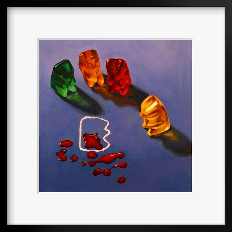 CSI Gummy Bear Art Print from original painting unusual image 0