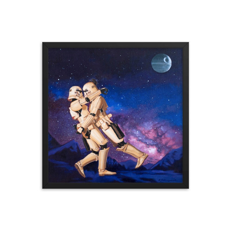 Stormtrooper Embrace Framed Art Print from oil painting  image 0