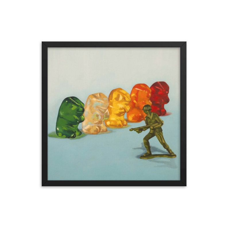 Gummy Bear Protest Framed Art Print from oil painting  ready image 0
