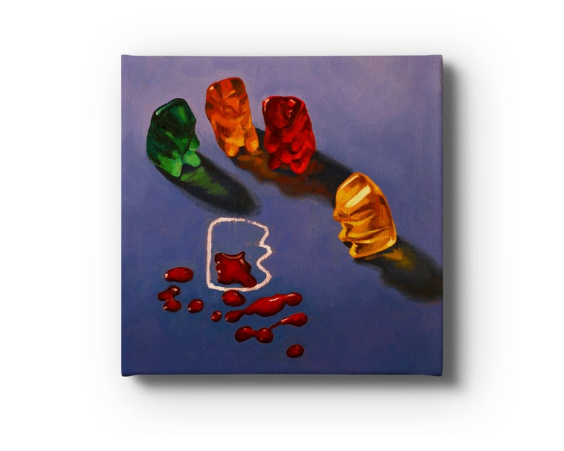 Gummy Bear CSI Crime Scene Stretched Canvas Print From Oil image 0