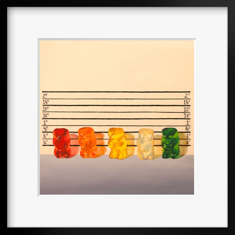 Gummy Bear Line Up  Art Print from original painting great image 0