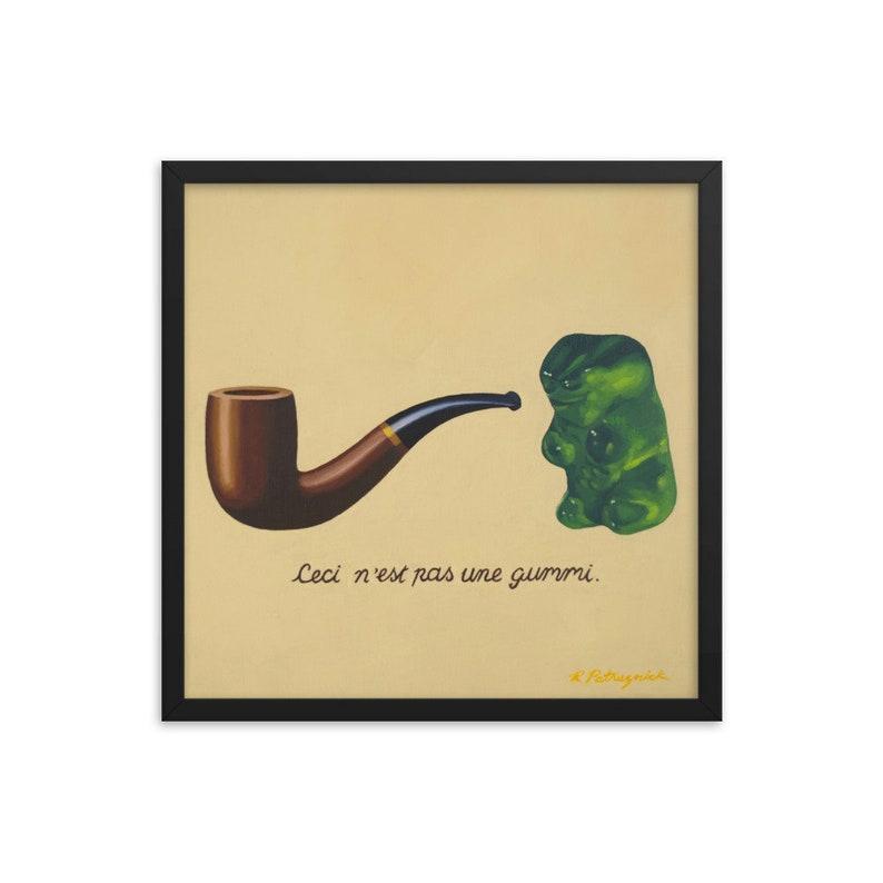 Gummy Bear Magritte Framed Art Print from oil painting  ready image 0