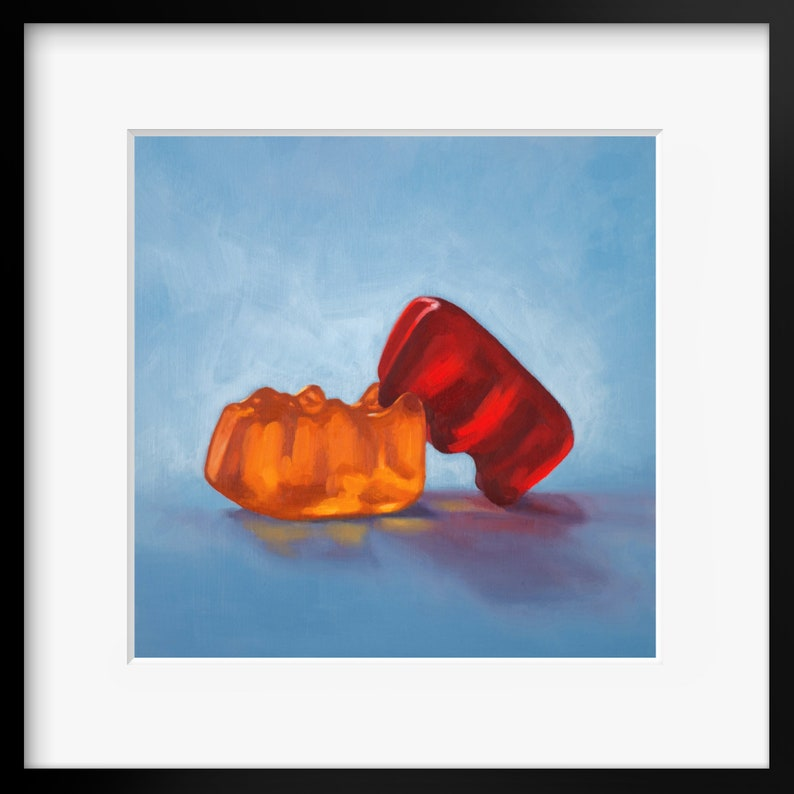 Gummy Bear Date Night Art Print from oil painting  Humping image 0