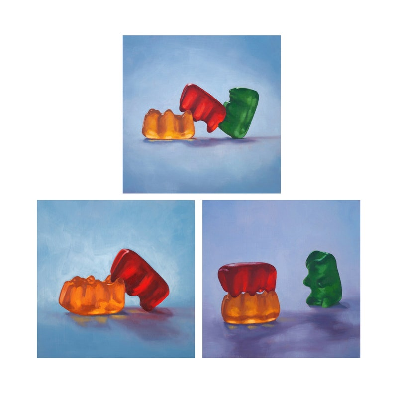 Gummy Bear Art Set of 3 Prints from oil painting  Sex image 0