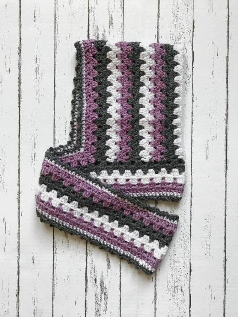 Purple and Grey Kid/'s Striped Hooded Scarf White