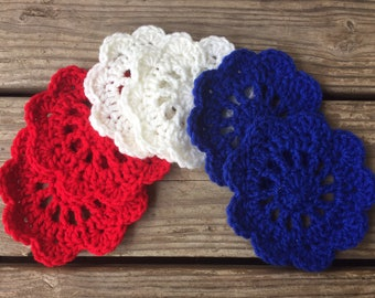 Red, White, and Blue Fourth of July Coasters - Hand Crochet - Set of Six
