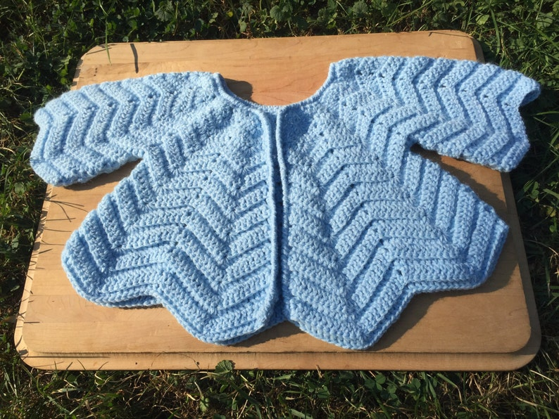 0f758db7e Blue Baby Toddler Sweater 1 to 2 year old Hand Crochet