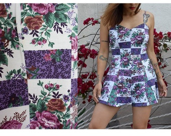 Vintage 90's romper a-line strappy sweetheart neckline mini purple violet floral flower