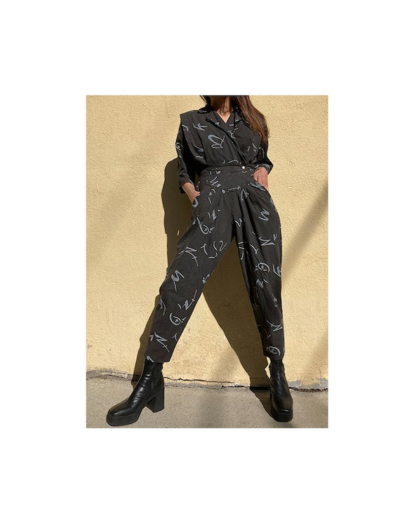 Vintage 80's all over abstract print jumpsuit