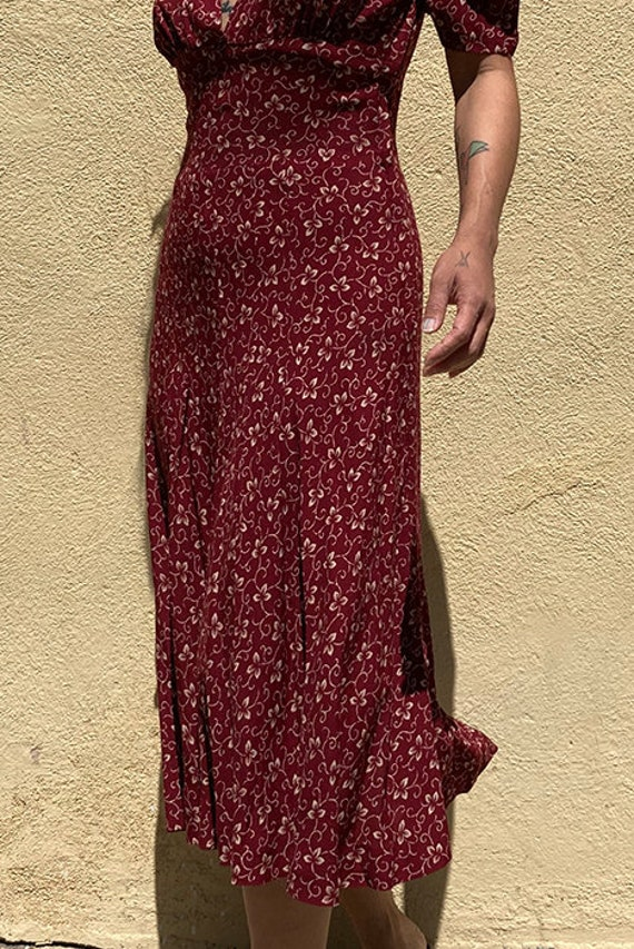 Vintage 90's does 40's maroon day dress - image 4