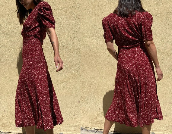 Vintage 90's does 40's maroon day dress - image 2