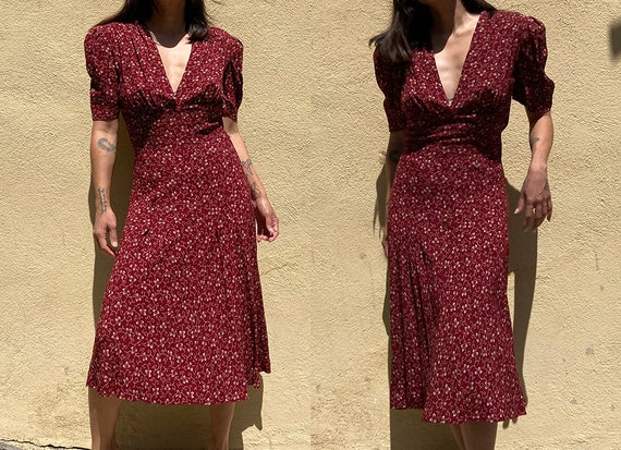 Vintage 90's does 40's maroon day dress - image 3