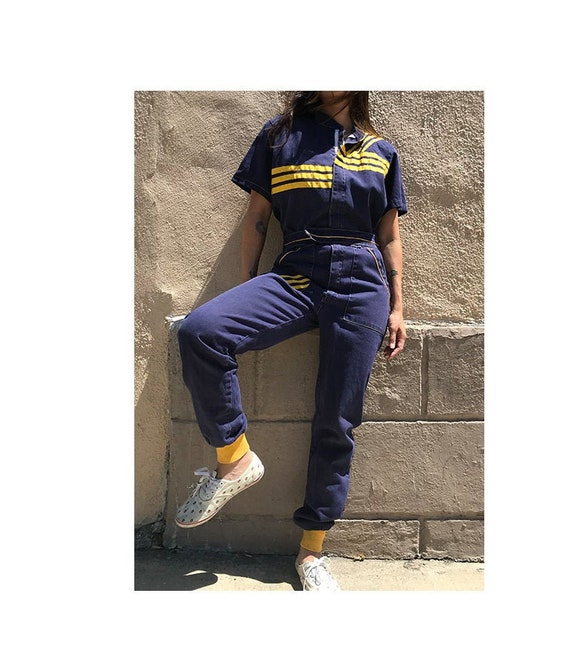 Vintage 80's striped zip up jumpsuit coveralls wor