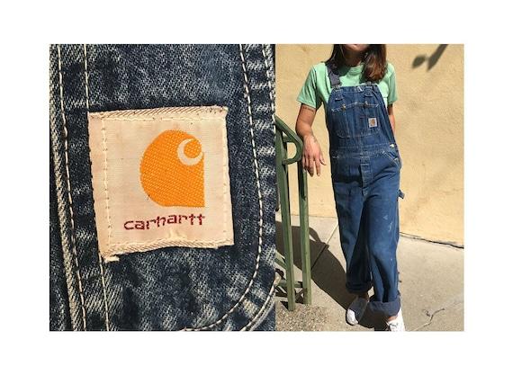 "Vintage 32"" 80's CARHARTT overalls jeans denim wor"