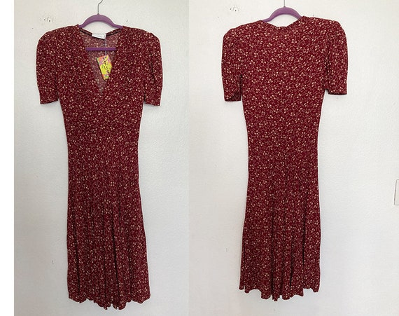Vintage 90's does 40's maroon day dress - image 6