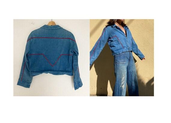 Vintage 70's cropped denim zip up jacket