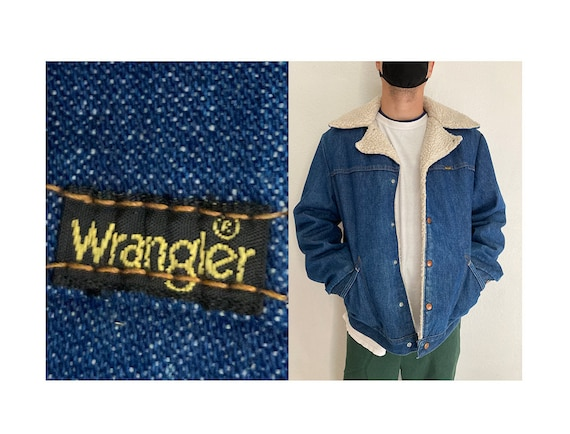 Vintage 70's WRANGLER made in USA sherpa denim jea