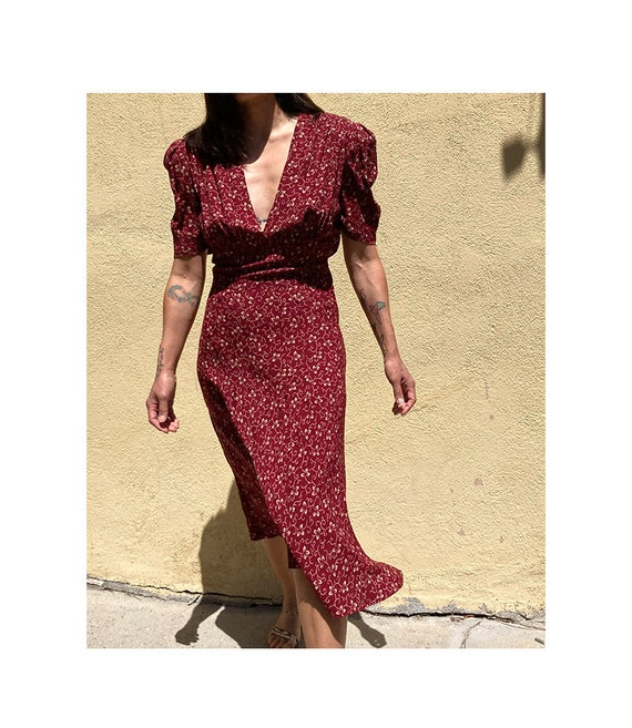 Vintage 90's does 40's maroon day dress - image 1