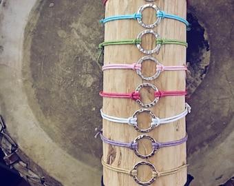 Karma Circle Wish bracelet // choice of waxed cord // hammered sterling silver circle // yoga friendship // vegan friendly // adjustable