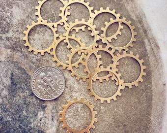 Open sprocket gear // set of 12 // raw brass or copper // good 4 necklace bracelet or earring designs // jewelry findings destash supplies