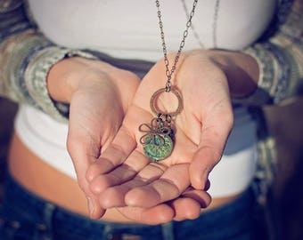 Dragonfly Garden Pendant Charm Necklace // butterfly & flower antique brass and Czech glass beads // boho chic // bohemian style // handmade