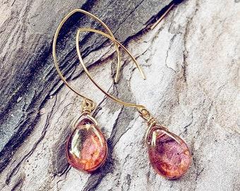 Allure // luminous czech glass teardrop boho earrings // bohemian style dangle drop earrings // 10kt gold plated earwires // free spirit