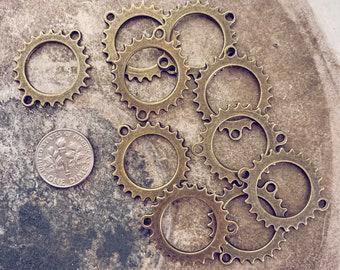 Bronze sprocket gear wheel connector  // set of 10 // good 4 necklace & bracelet designs // steampunk // jewelry findings destash supplies