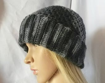 Mens watch cap Crochet grunge beanie Black Gray Omber Alpaca wool blend  Slouch skater hat ribbed brim skull Christmas Boyfriend gift Dad 0c362a799296