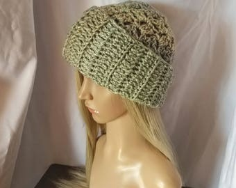 b69f1a6d6f8 Slouchy hat Crochet chunky cloche Womens Acrylic green and tan beanie Warm winter  hat Mens winter accessories Striped toque Grunge fashion