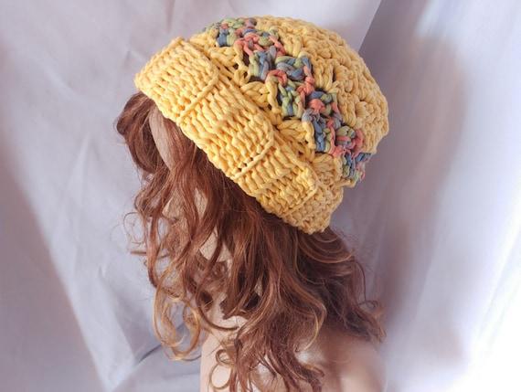 9ce2f9d6179 Yellow crochet chunky hat. slouchy ribbed brim beanie Lemon