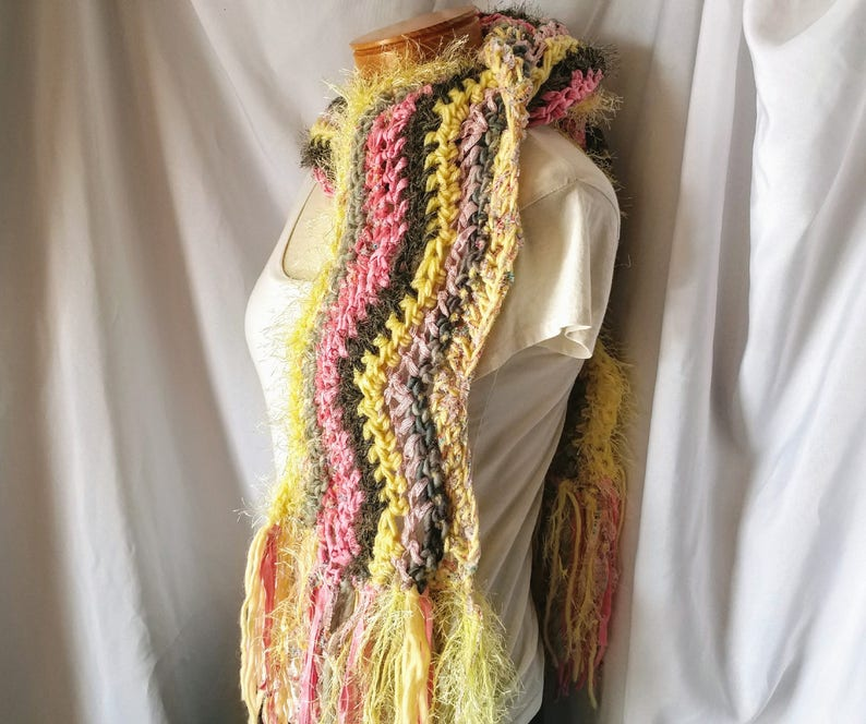 06a0166e2e576 Yellow Pink chunky art scarf Crochet Chevron scarf Long | Etsy