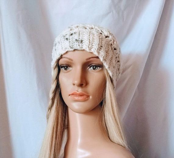 Crochet hat Black white beanie in a warm wool blend yarn  9df90612c751