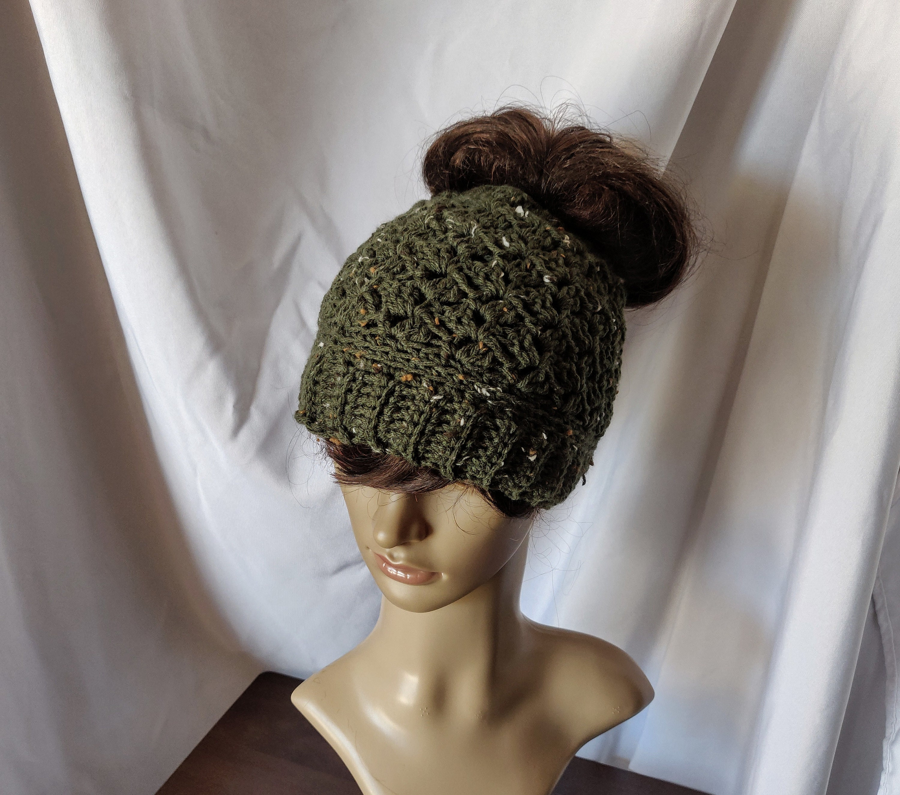 719de6c49 Messy Bun Hat olive green with tan ivory flecks Available as a regular  beanie