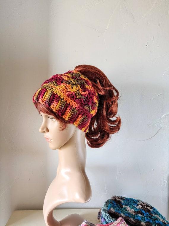 Crochet Bun Hat Ready To ship Messy Bun Hat Orange Hat Crochet Bun Hat Women,Teen