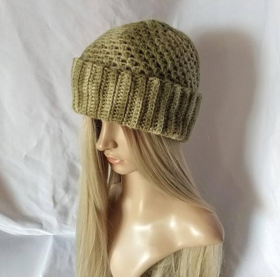 Crochet mens watch cap beanie Green omber Alpaca wool blend  f2a89a4ce3c